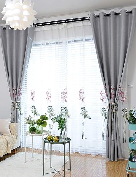 Amazon.de: Lactraum Gardine Wohnzimmer Transparent Weiß mit Ösen