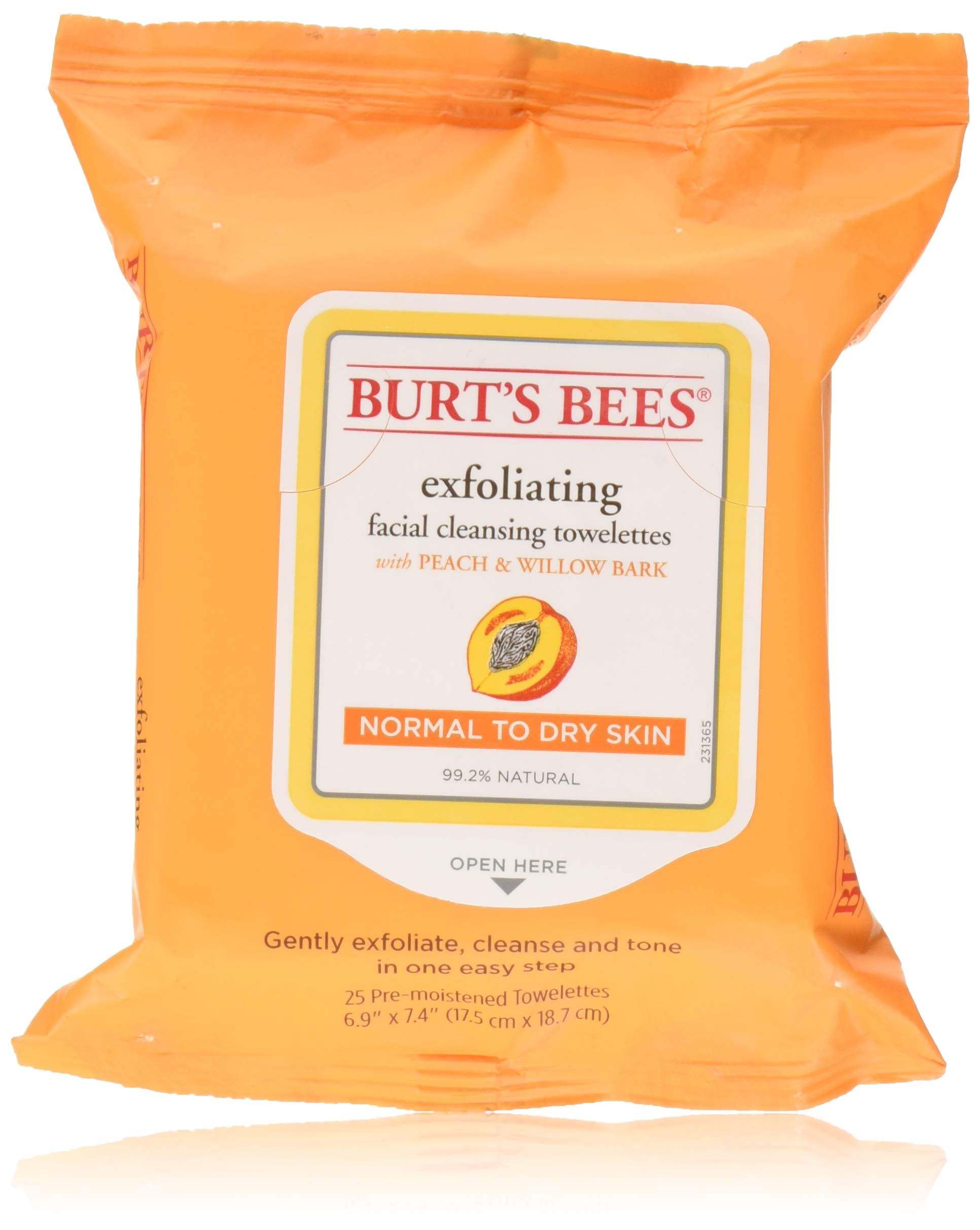 Burt's Bees Facial Cleansing Towelettes, Peach and Willow Bark, 25 Count (Pack of 12)