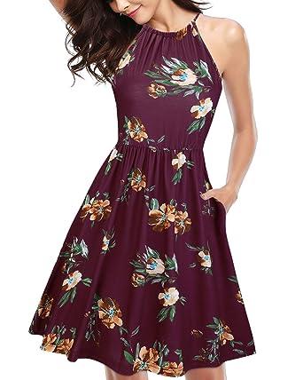 8dcc322d3a1f7 KILIG Sundress for Women Juniors Casual Halter Neck Floral Summer  Sleeveless Dress Skater Dresses with Pockets