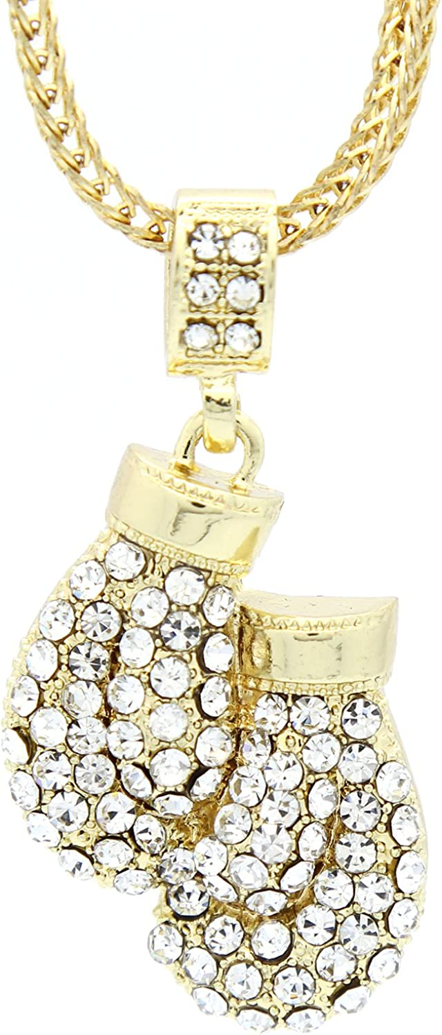 L /& L Nation Mens Gold Tone Small Boxing Gloves Pendant with 3mm 24 Franco Necklace Chain