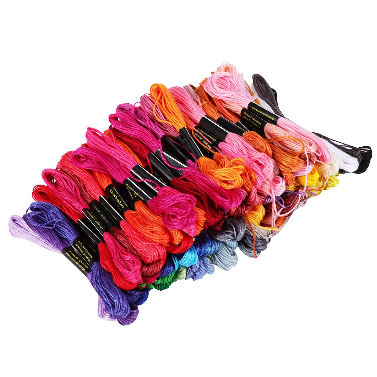 Tinksky 100 Skeins of 8M Multi-color Soft Cotton Cross Stitch Embroidery Threads Floss Sewing Threads Random Color
