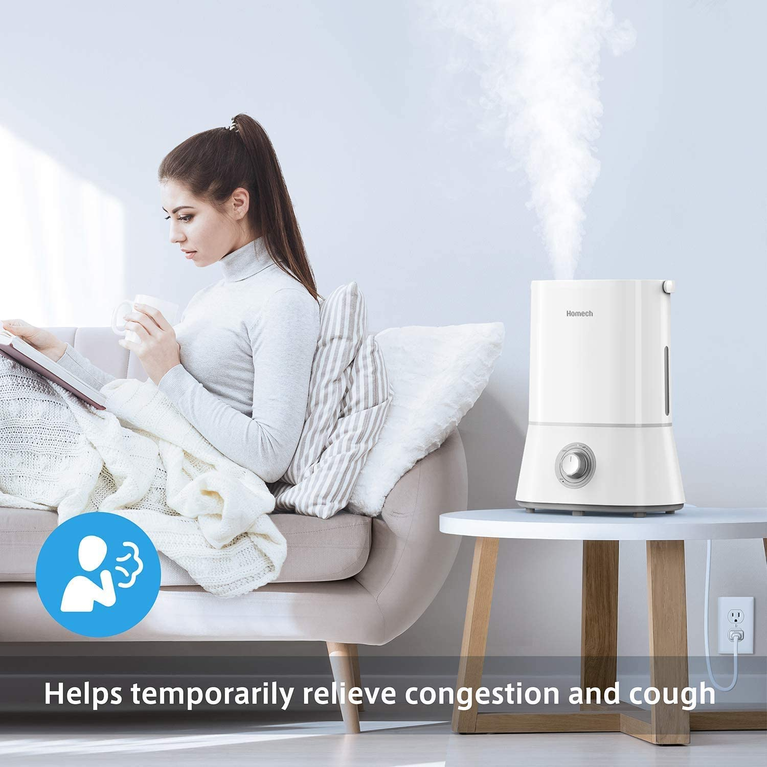Homech Cool Mist Humidifier, Quiet Ultrasonic Humidifier for Bedroom Home Baby 12 60 Hours, Easy to Clean, 360 ° Nozzle, Waterless Auto Shut Off