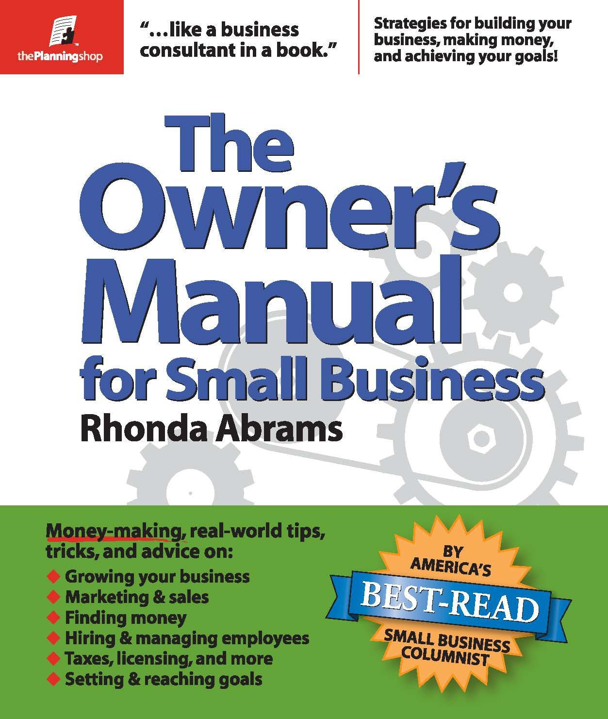 the owner s manual for small business rhonda abrams 9780974080154 rh amazon com Contractor Small Business Owner Female Small Business Owner