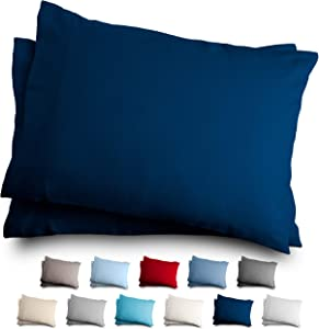 Bare Home Standard Flannel Pillowcase Set - 100% Cotton - Velvety Soft Heavyweight - Double Brushed Flannel (Standard Pillowcase Set of 2, Dark Blue)
