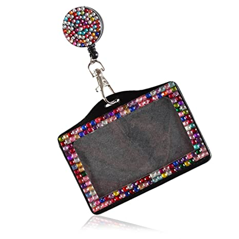 Purely Handmade Fashion Retractable Rainbow Bling Crystal Strap Neck  Lanyard Cute Rhinestone Badge Holder+Jeweled Horizontal Business Name ID  Card