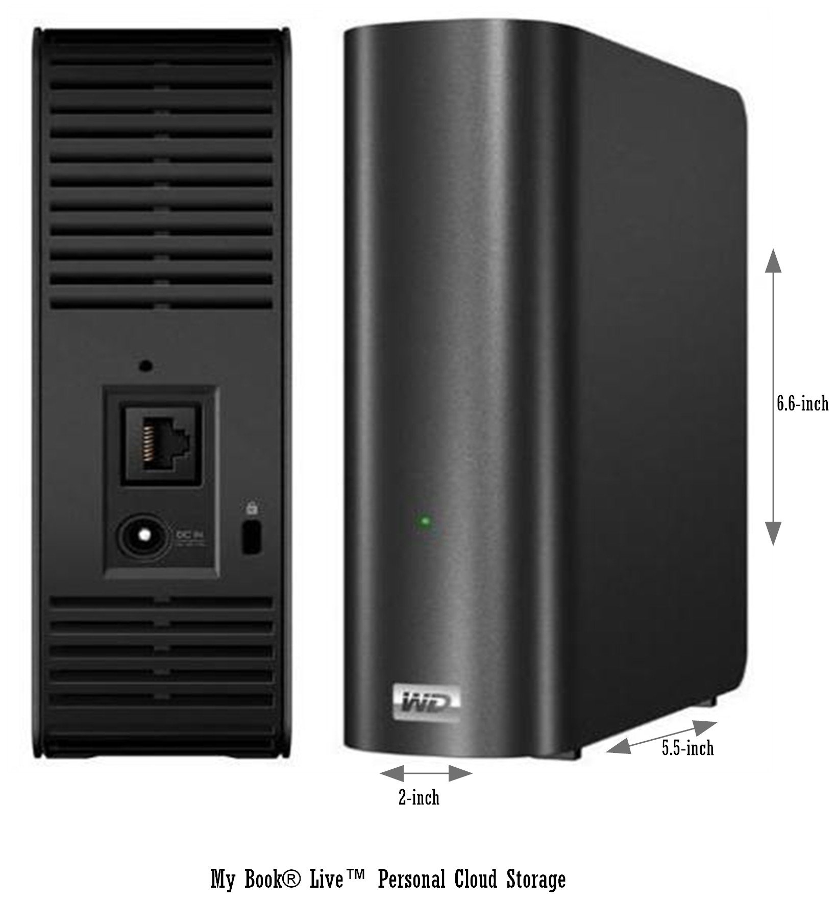 Internet Accessible / Shareable Network Attached Drive, 2TB RJ45 Port Connects to Router - WD My Book Live Personal Cloud Storage - WDBACG0020HCH