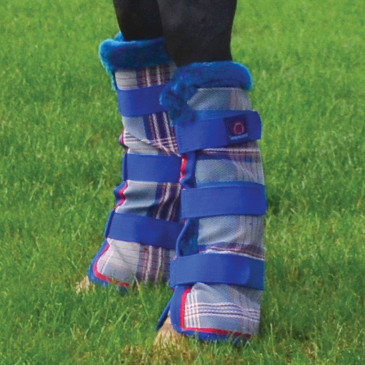 Kensington Horse Fly Boots with Comfortable Fleece Trim — Stay-Up Technology with Velcro Straps — Protection from Insect Bites and UV Rays — Sold in Pairs of 2 (Blue Ice Plaid) Kensington Products KFB141