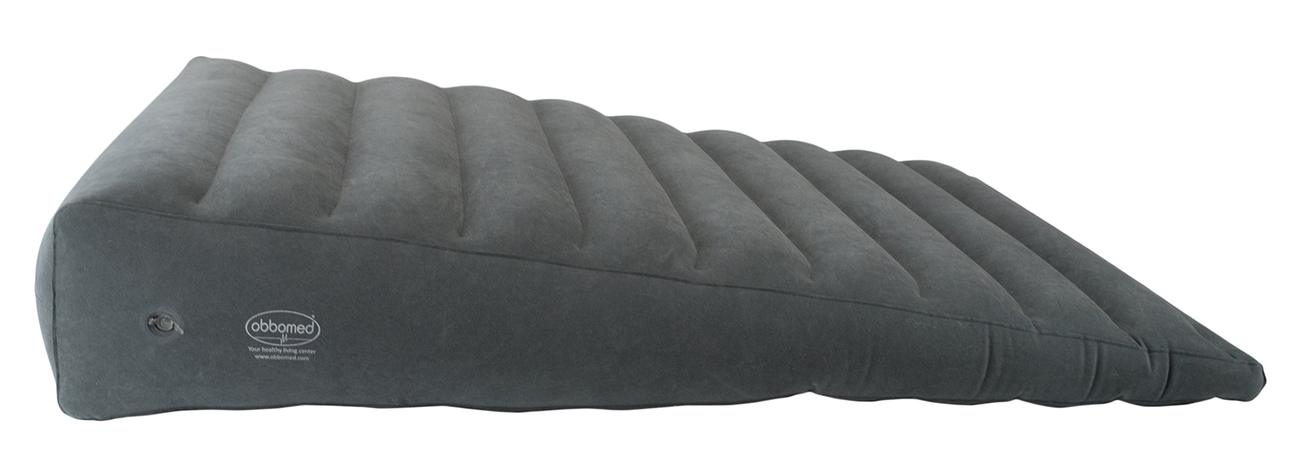 ObboMed HR-7690 Extra Long Wide Inflatable Portable Bed Wedge Pillow w/Velour Surface Finish, Powerful Pump Included, for Sleep, Travel, Horizontal Indention Prevent Sliding, 45''x30''x(8''~1.5''), Gray