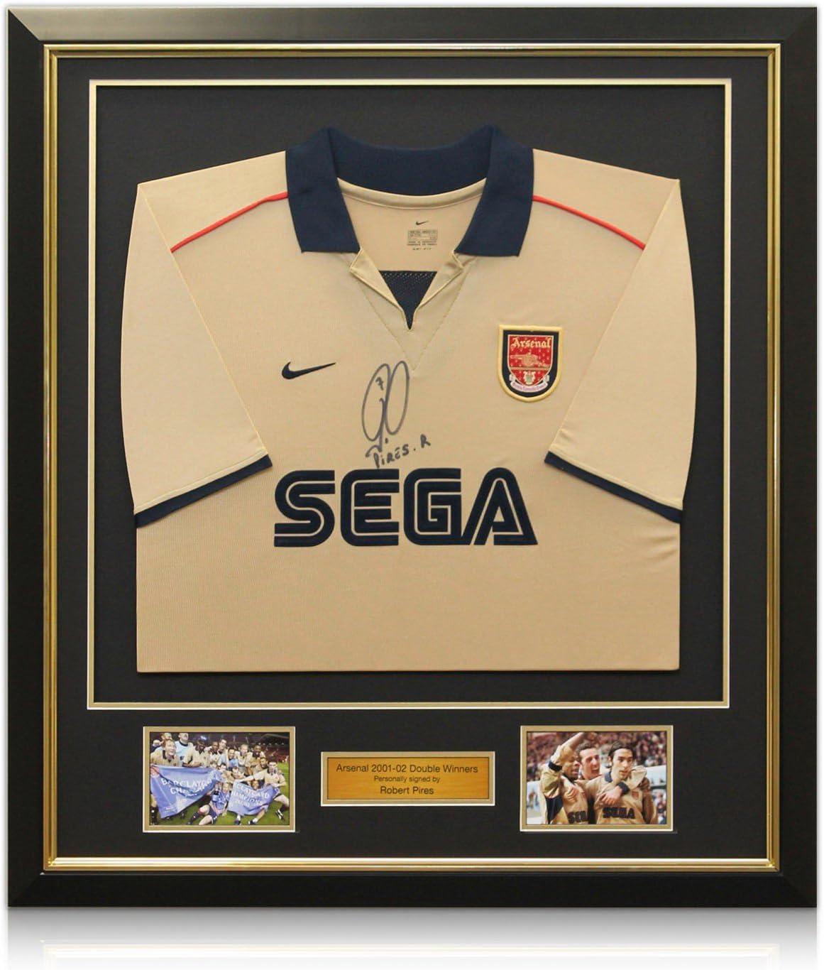 camiseta Robert Pires Arsenal firmó con oro embutido: 2001-02 Ganadores dobles, lujo enmarcado: Amazon.es: Deportes y aire libre