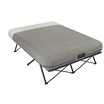 coleman queen frame airbed cot with side tables and built in pump 2000019460