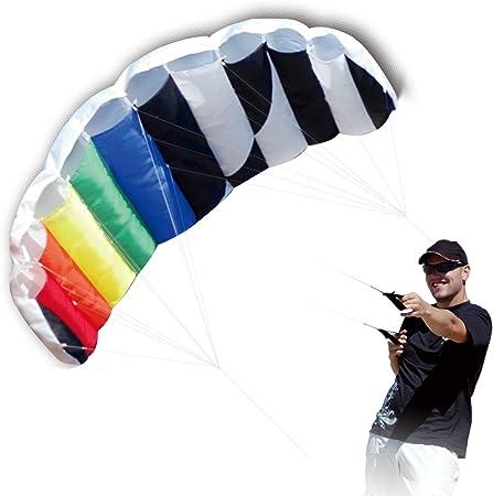 HENGDA KITE 1.4 M Intro Foil Design Rainbow Kites Soft Stunt Sport Parafoil Kite 55-inch with Flying Tool Set