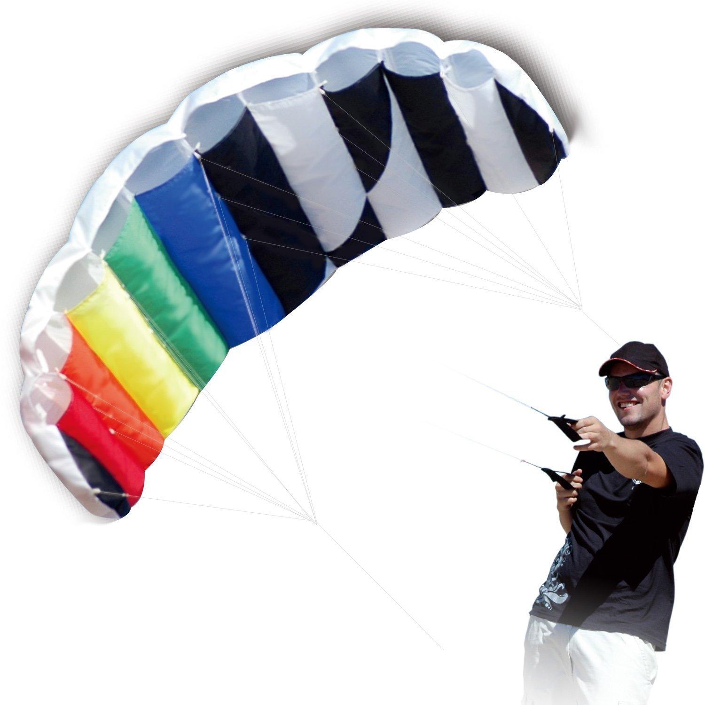 HENGDAカイト1.4 M Intro箔デザインレインボー凧ソフトStuntスポーツParafoil Kite 55-inch with Flyingツールセット B01N2MPZWB Rainbow Parafoil