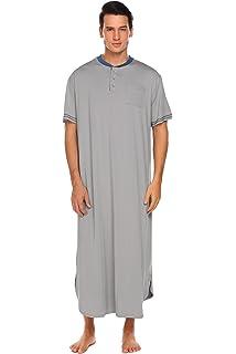 Adidome Mens Cotton Nightshirt Short Sleeve Sleep Shirt Loose Nightgown Sleepwear Dress