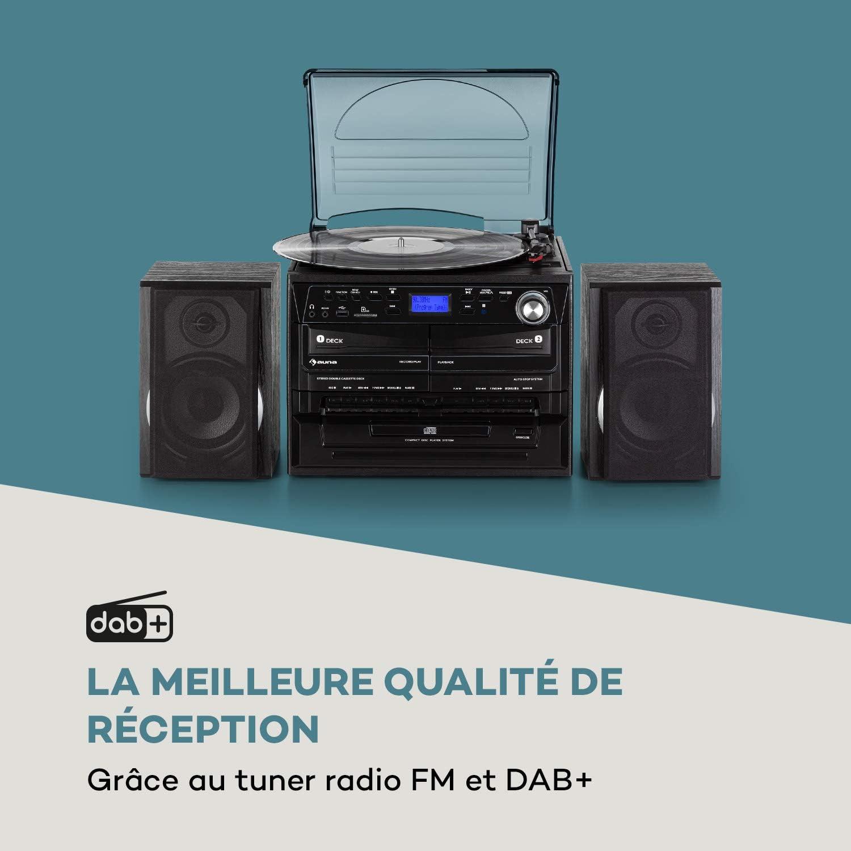 Tuner Radio FM//Dab+ 2 Enceintes Cha/îne compacte USB et SD Fonction BT Noir Fonction dencodage Platine Vinyle 2 platines Cassette AUNA 388-DAB + Lecteur CD avec Fonction MP3