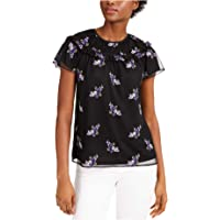MICHAEL KORS Womens Black Sheer Floral Short Sleeve Top AU Size:14