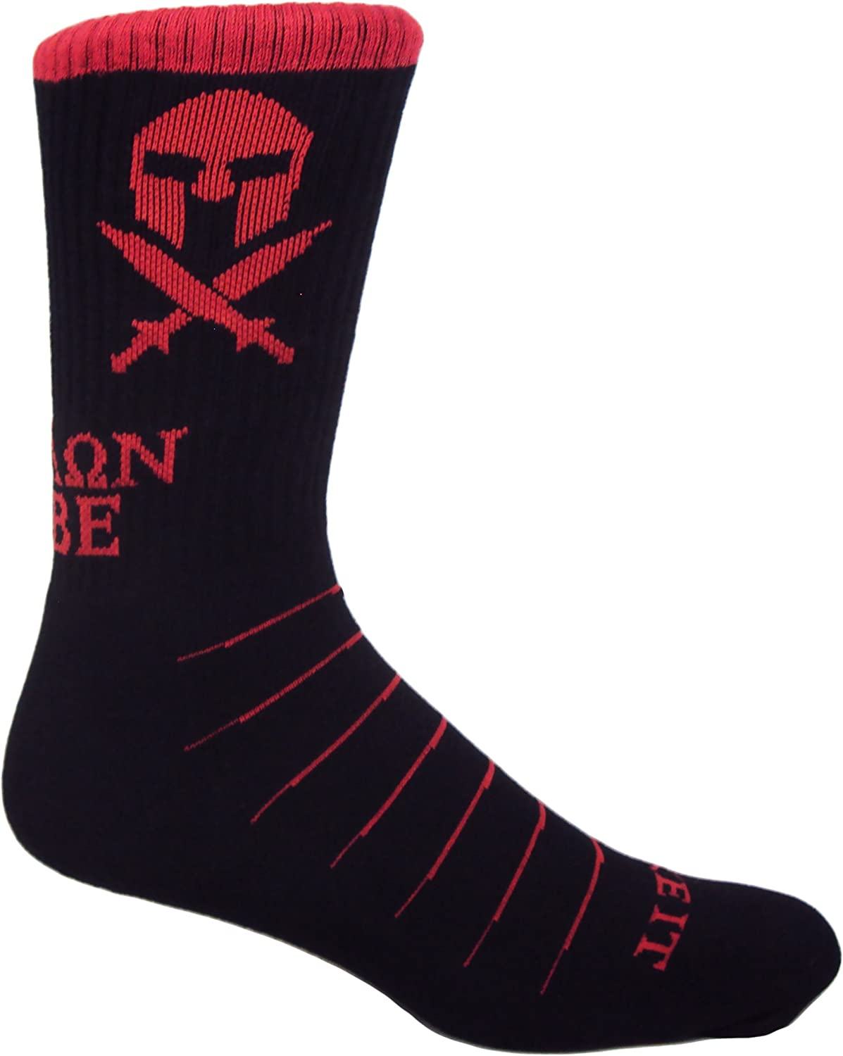MOXY Socks Black and Red Molon Labe Spartan Performance Crew Socks