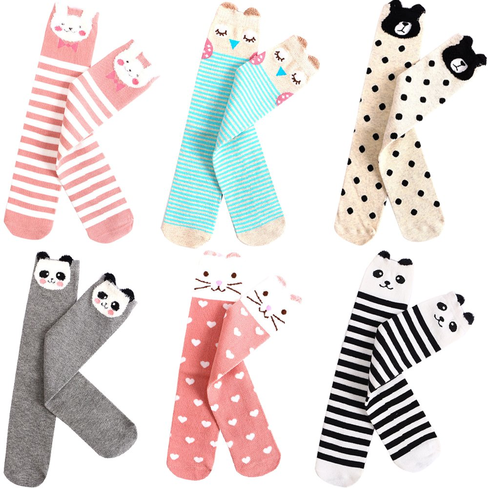 6 Pairs Girls Knee High Socks Cute Cartoon Animal Boot Socks Cotton Socks
