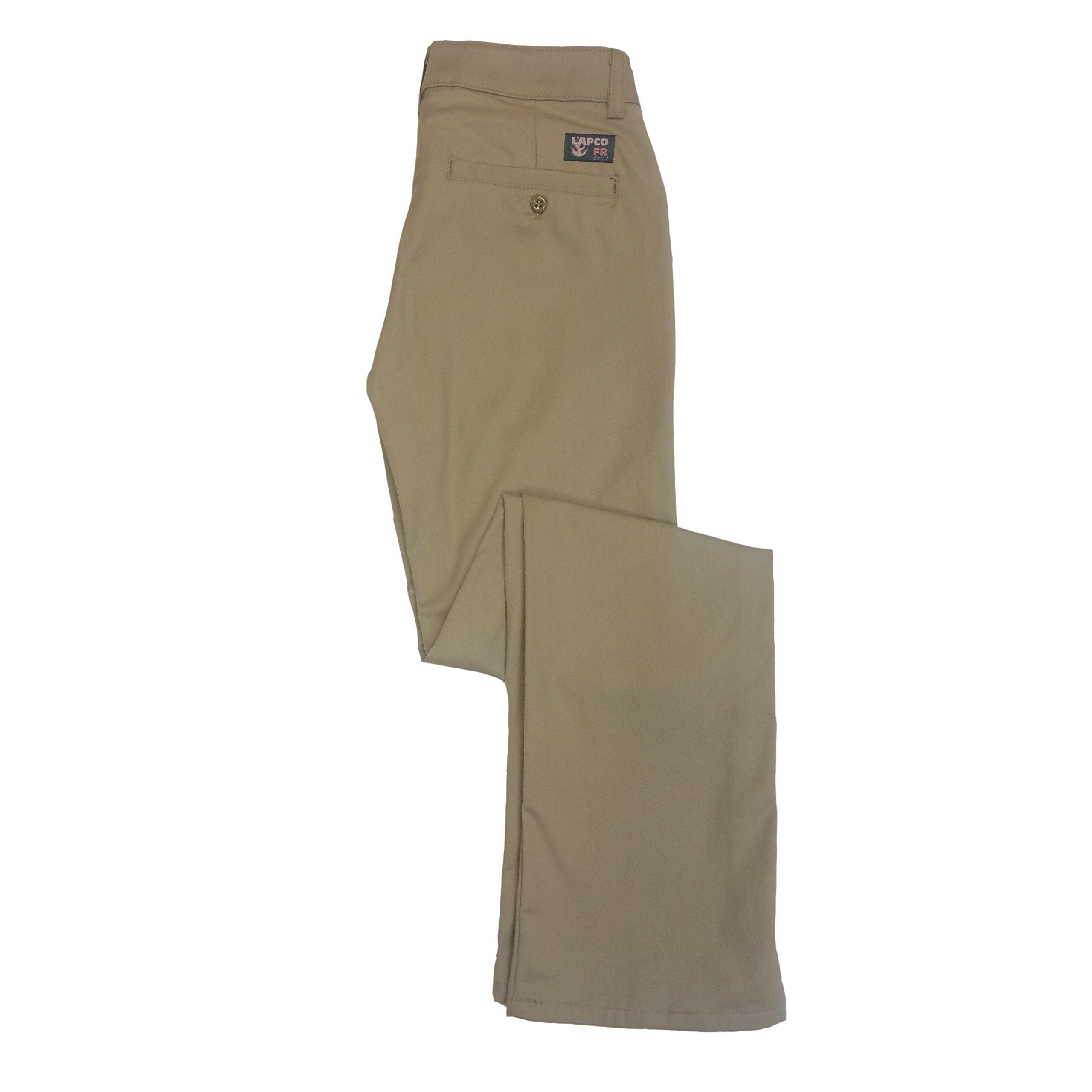 Lapco FR L-PFRACKH 6RG Ladies FR Advanced Comfort Uniform Pants, 88% Cotton, 12% Nylon, 7 oz, 6RG, Khaki