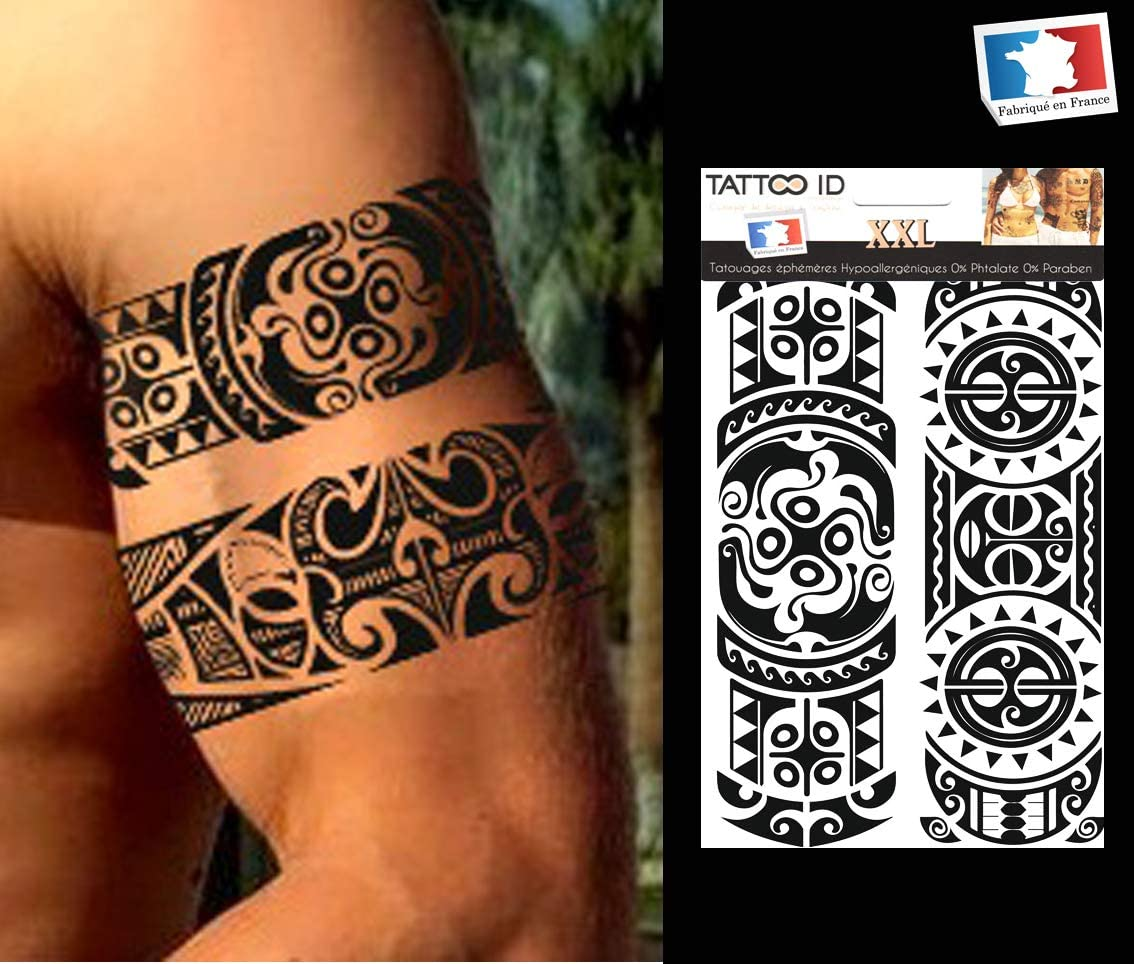 Tattoo ID XXL Polinesia Tribal Maorí temporäres Tattoo ...