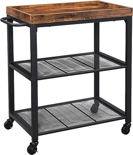 vidaXL 2-Tier Kitchen Trolley Dining Breakfast Serving Storage Cart on Wheels Rack Stand Workstation Organiser 107x55x90cm Stainless Steel