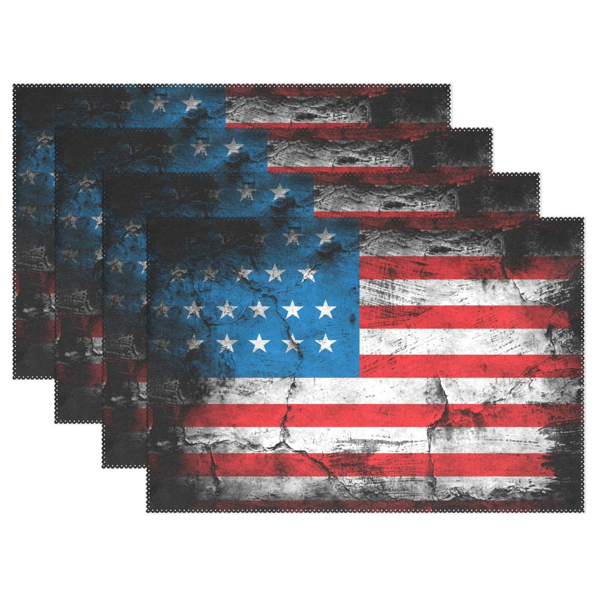 baihuishop United States of America Flag Placemats Heat-Resistant Washable Table Mats 12 X 18 Inch Placemats for Family Kitchen Hotel Coffee Shop Dinning Restaurant Set of 4