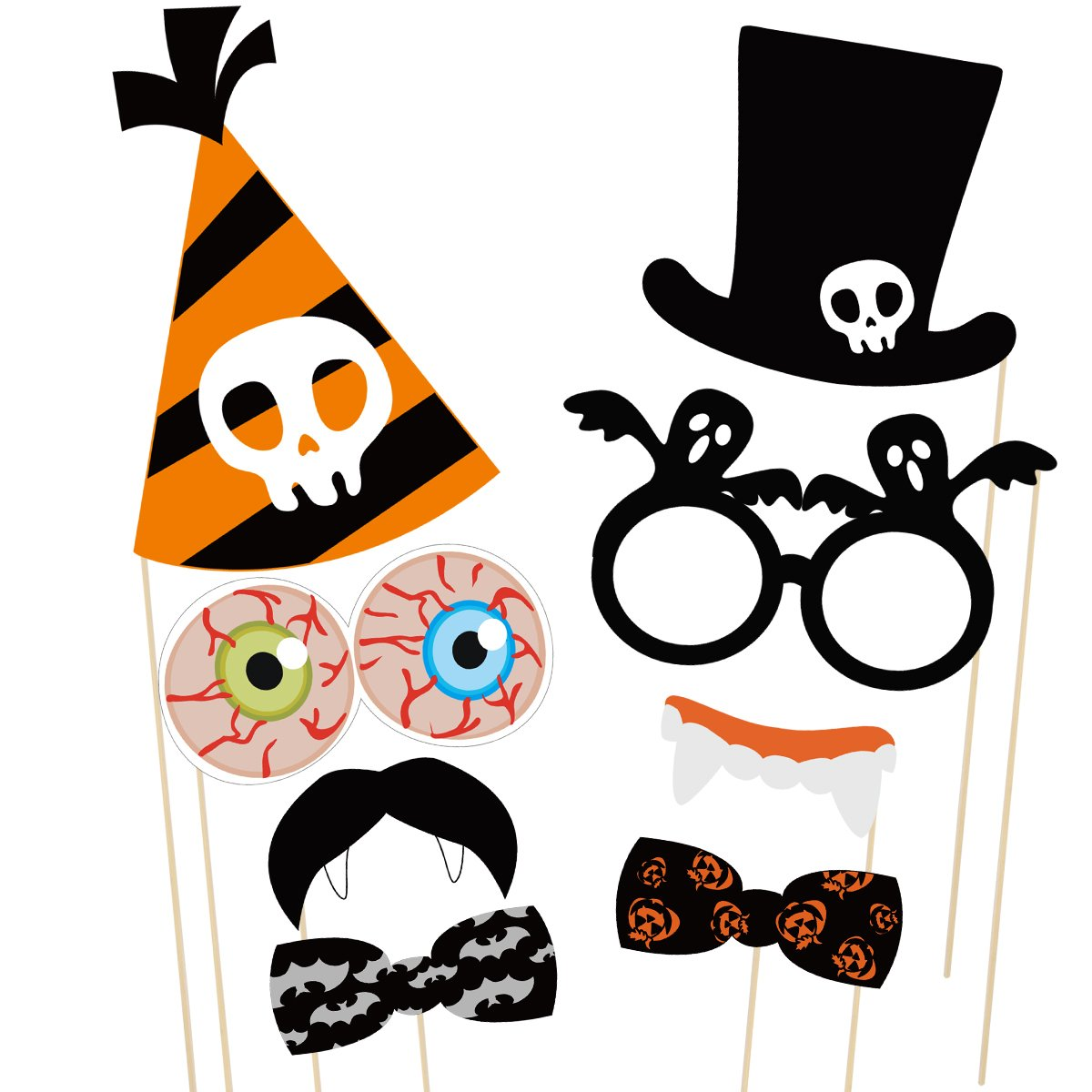 PRETYZOOM 47 Pieces Halloween Party Photo Booth Props Kit Fancy Party Decor Halloween SupplyPose Sign Kit for Party Decoration by PRETYZOOM (Image #6)