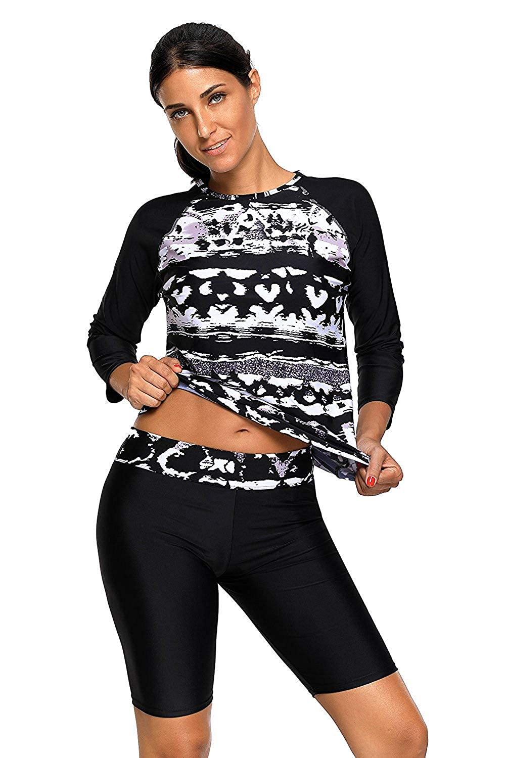 Womens Printed Long Sleeve Rash Guard Top and Capri Pants Two Piece Swimsuit Set