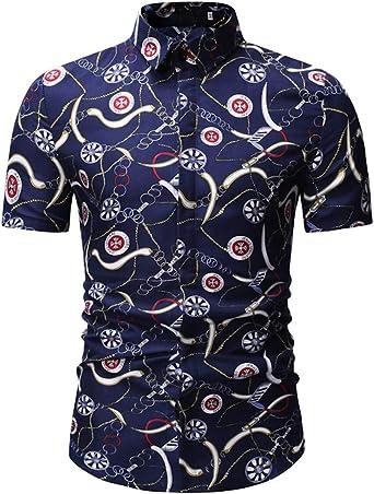 Camisa Grande para Hombres Camisa de Manga Corta con ...