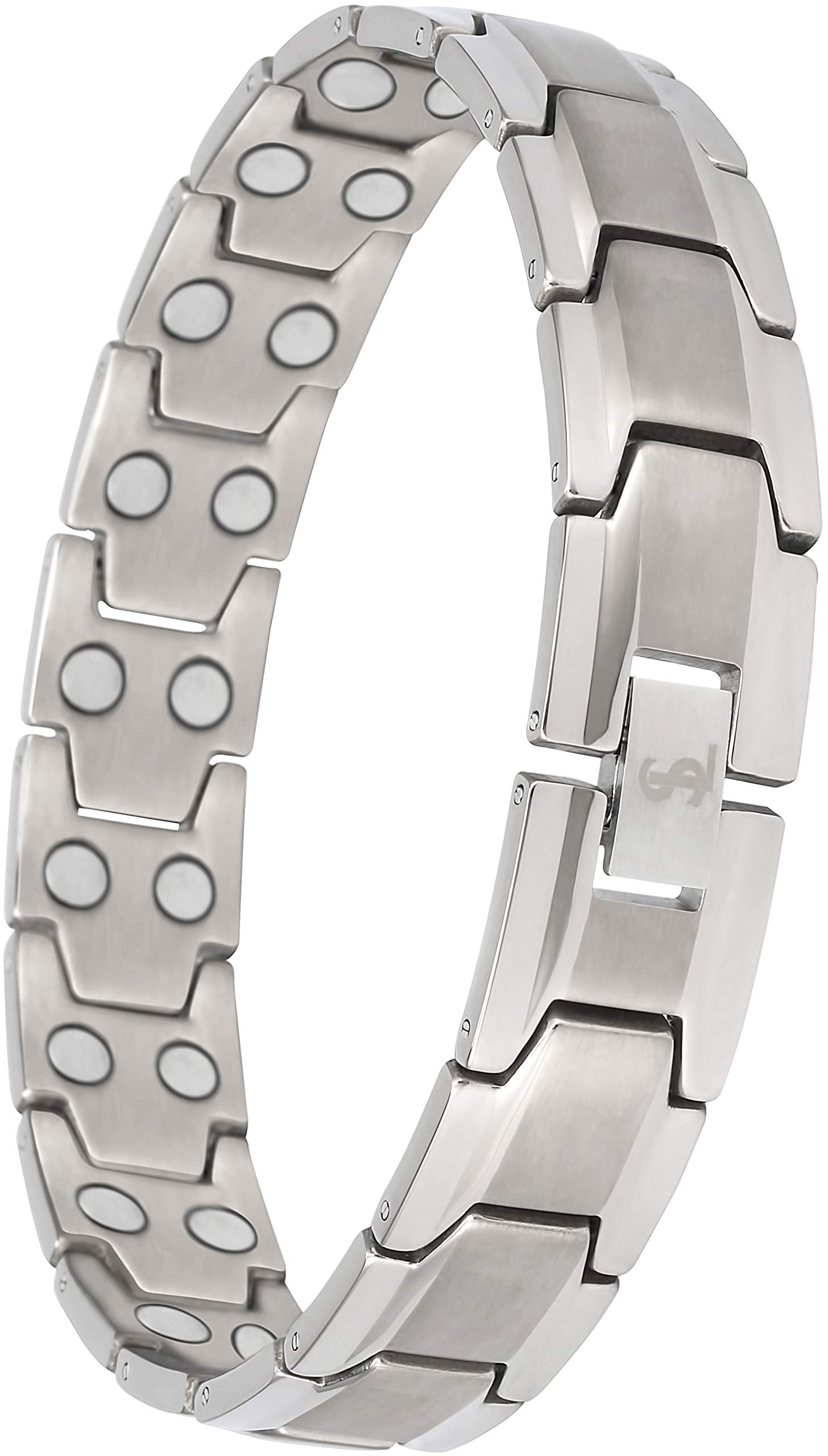 Elegant Men's Double Magnet Wide Titanium Magnetic Therapy Bracelet Pain Relief for Arthritis and Carpal Tunnel (Silver)