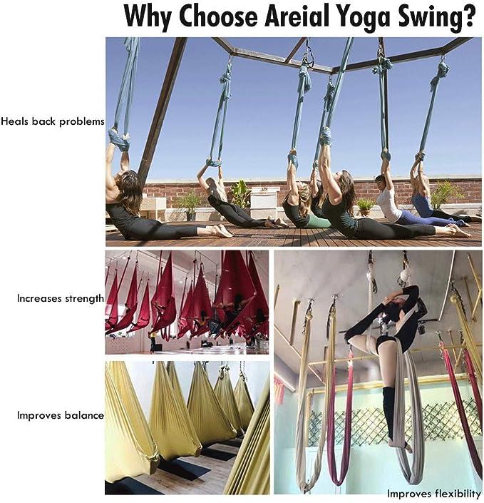 PELLOR - Hamaca Correa Volar para Yoga Pilates aérea (Púrpura ...