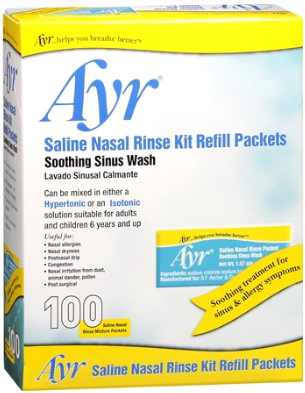Ayr Sinus Rinse Refill Packets 100 Each (Pack of 6) by Ayr