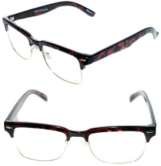 cd45ec3005 Mens Small Rectangular Clear Lens Polished Half Shell Eye Glasses Soho  Clubmaster (Black Gold)