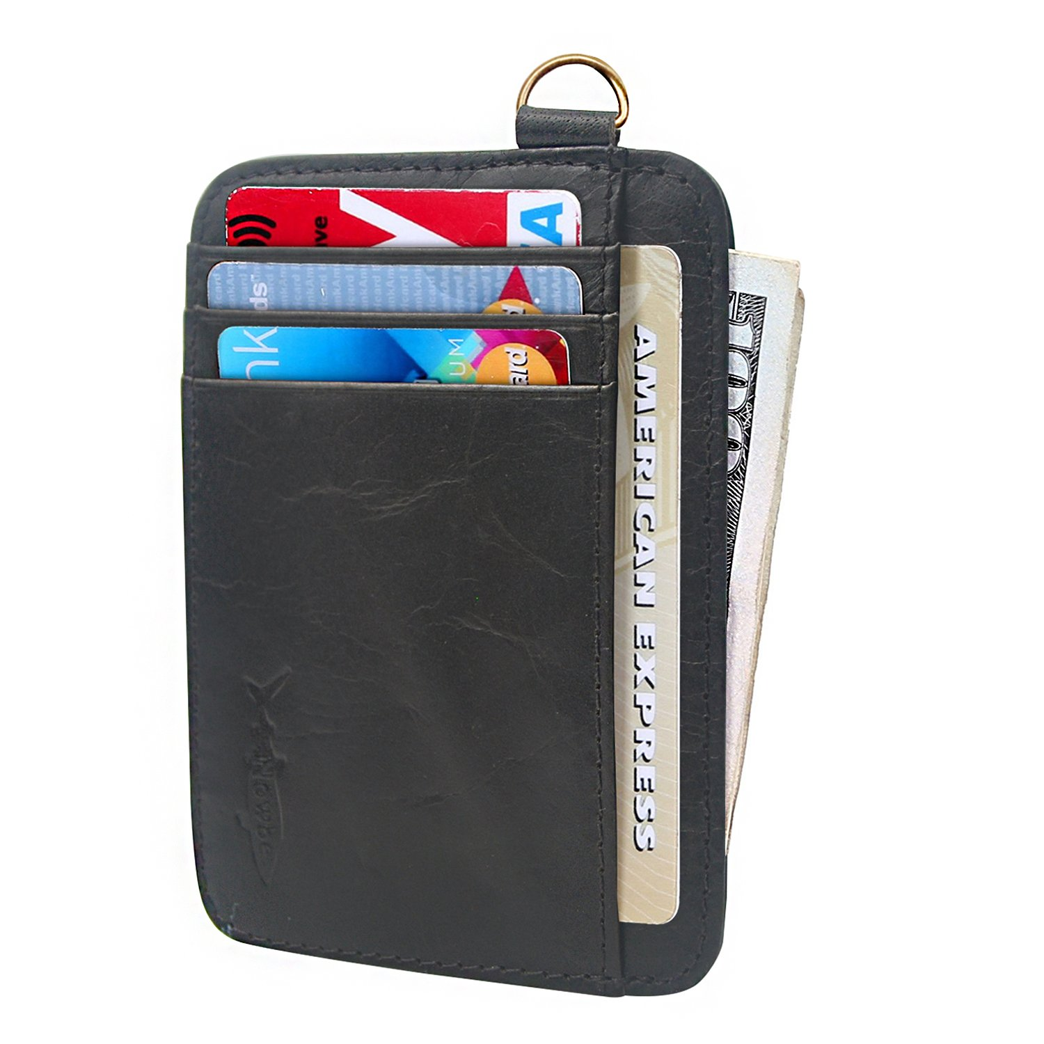 Nowbe Slim Front Pocket Minimalist Inserts Credit Card Mens Wallet Genuine Leather Small Size With Chain