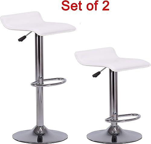 LZL Products Set of 2 Hard PVC Leather Adjustable Bar Stools Counter Swivel Barstool Pub White