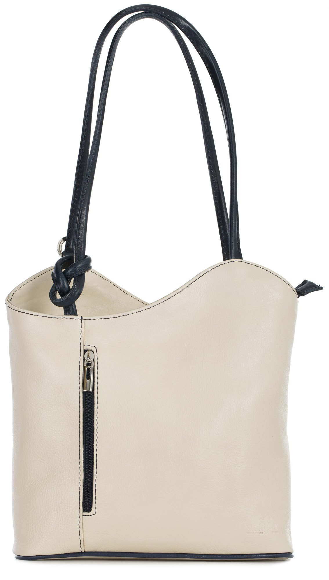 LiaTalia Womens Soft Lush Italian Leather Piping Detail Shoulder or Backpack Bag with Protective Storage Bag - Libby (Cream Blue) by LiaTalia Vera Pelle Made In Italy
