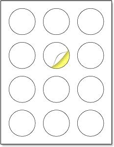"2"" Round Matte White Sticker Label, Laser/Inkjet Printing - Letter Size, 30 Sheets"