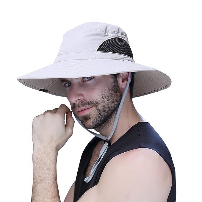 promozione speciale godere di un prezzo economico miglior sito Cappello Pescatore, Cappelli Uomo Estivo Tesa Larga Cappello da pesca  antivento, con protezione UV UPF50+, con rete, ideale per attività  all'aperto