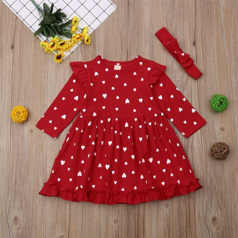 Zoiuytrg Toddler Baby Girl Christmas Dress Kid Long Sleeve Heart Printing Party Xmas Outfits Dresses Clothes