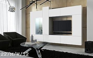 FUTURE 22 Wohnwand Anbauwand Wand Schrank Wände Schränke Wohnzimmer  Wohnzimmerschrank Matt Weiß Schwarz Schwarz Weiß