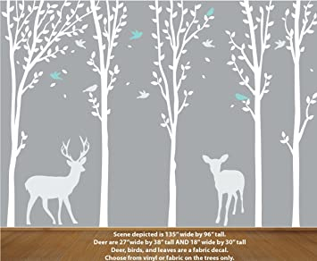White Tree Wall Decal, Deer Wall Decals, Forest Wall Stickers