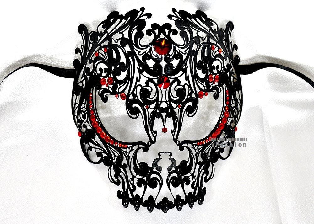 amazoncom men devil skull laser cut venetian masquerade mask with red rhinestones event party ball mardi gars by kayso beauty