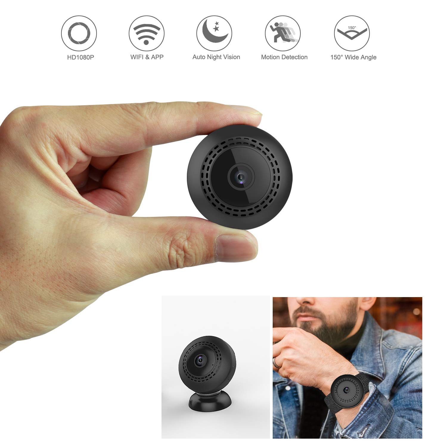 Aoboco Hidden Camera, Mini Spy Camera Wireless Hidden Small Nanny Cam 1080P WiFi Home Security Camera with iPhone Android Phone App Night Vision Motion Detection for Office, Apartment, Indoor Outdoor