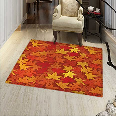 Orange Area Rug Carpet Colorful Autumn Fall Season Maple Leaves In Unusual Designs Nature Artsy Print Living Dinning Room And Bedroom Rugs 30 X40 Burnt Orange Amazon Ca Home Kitchen