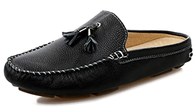 Men's Slippers Mules Clogs Tassel Leather Comfortable Slip on Shoes Casual Loafters