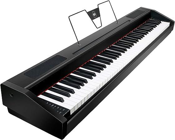 Souidmy G-310W | Piano digital de 88 teclas contrapesadas con acción de martillo graduado, y con resonancia de cuerdas, Bluetooth MIDI, con pedal de ...