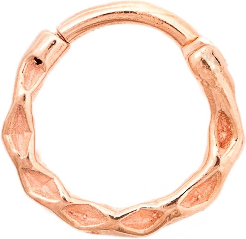 14g 3//8 Tawapa 56-HRGS107M-1438 Steel Navel Body Jewelry Rose Gold Plated Rope Septum Ring