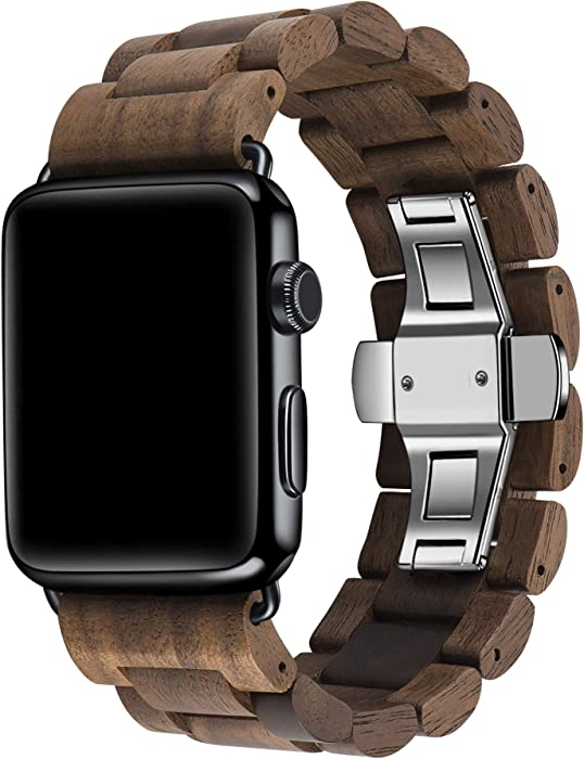 Kinobo Wooden Watch Band Compatible with Apple Watch, 100% Eco-Friendly Natural Hardwood Watch Strap Thickened Wrist Bracelet for iWatch Series 5, 4, 3, 2, 1, Sport, Edition (Walnut-42mm/44mm)