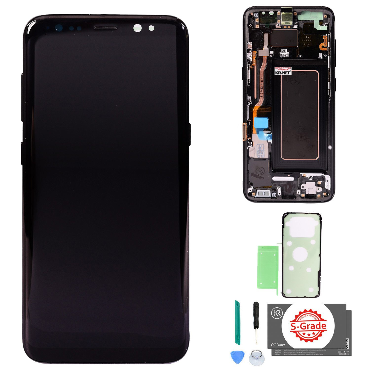LCD Display Touch Screen Digitizer Replacement for Samsung Galaxy S8 Midnight Black with Frame