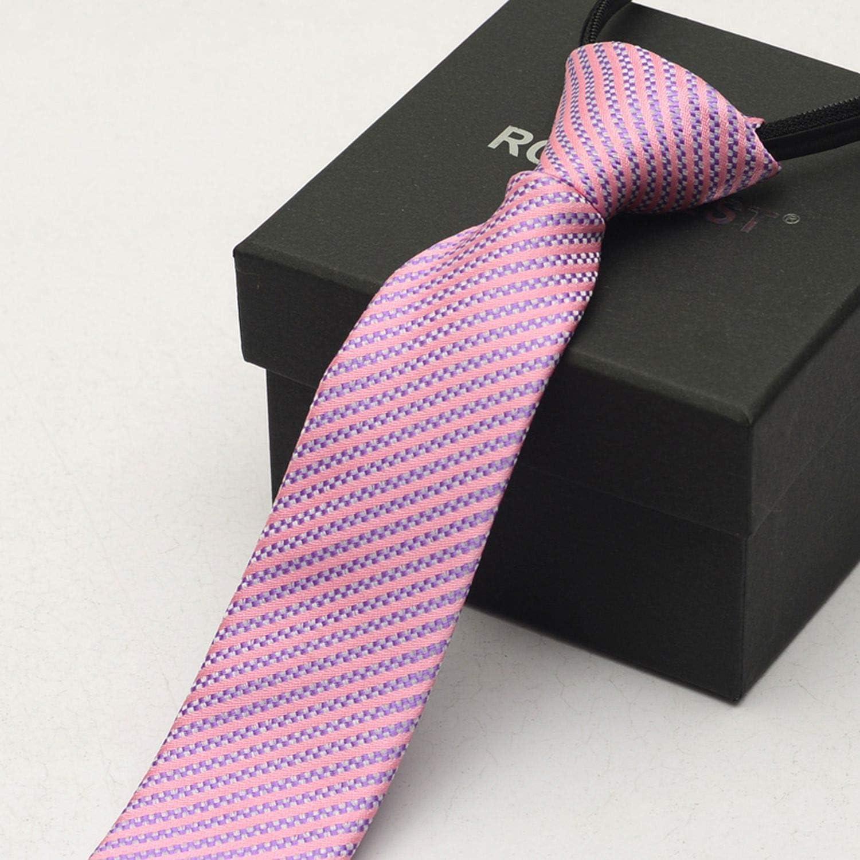 Men Fashion Skinny Zipper Tie Narrow Satin Solid Necktie Wedding Party Groom Ties Casual,Pink