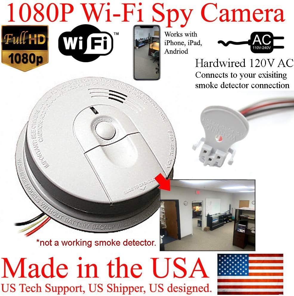 Amazon Com Secureguard 1080p Hd Smoke Detector Wifi Spy Camera Wireless Ip Cloud P2p Wi Fi Mobile Covert Hidden Nanny Cam Spy Camera Gadget Replace Your Existing Fire Alarm 110v Ac Quick Connector See
